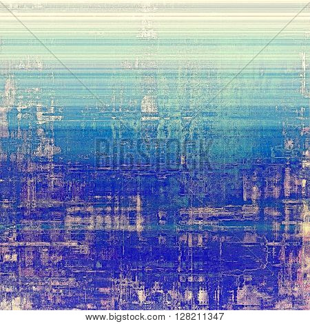 Old school elements on textured grunge background. With different color patterns: blue; purple (violet); white; pink; cyan