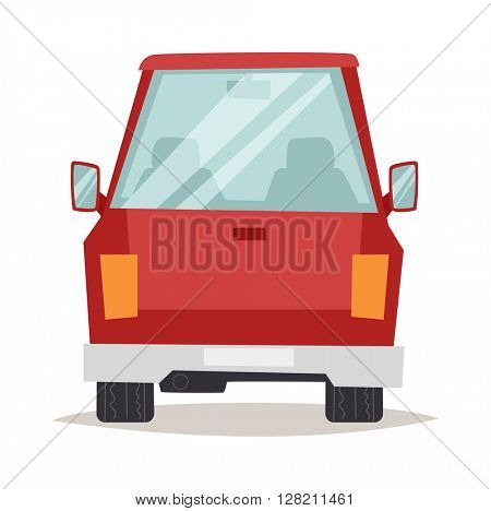 Red cartoon car back view design flat vector illustration