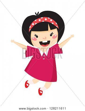 Japan girl jumping vector illustration