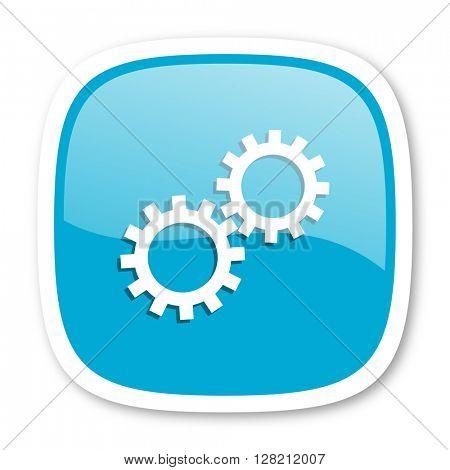 gear blue glossy icon