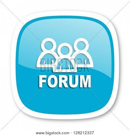 forum blue glossy icon