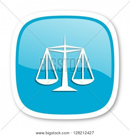 justice blue glossy icon