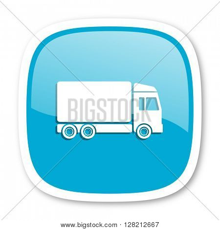 delivery blue glossy icon