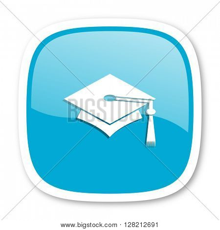 education blue glossy icon