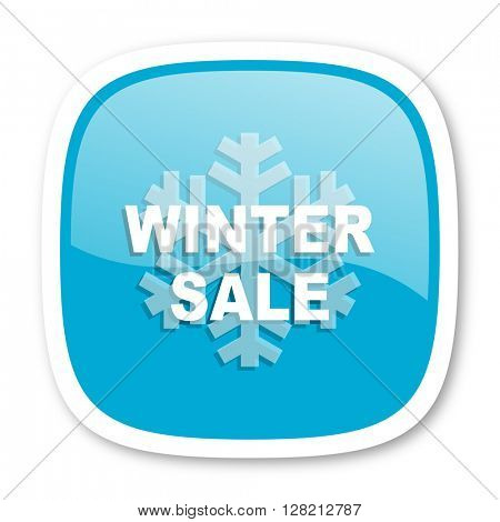 winter sale blue glossy icon