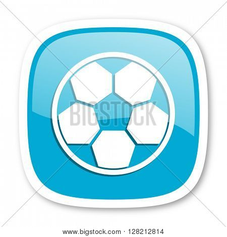soccer blue glossy icon