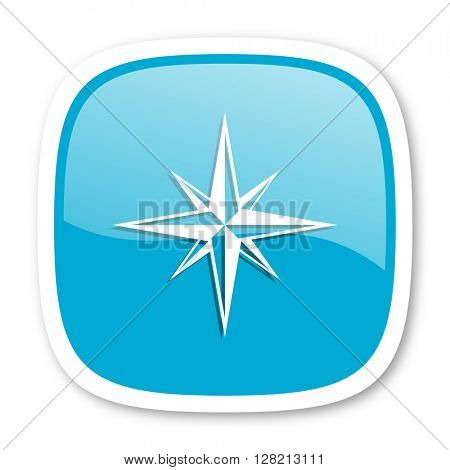 compass blue glossy icon