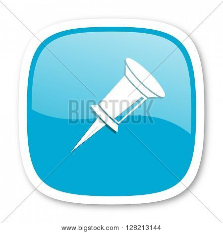 pin blue glossy icon