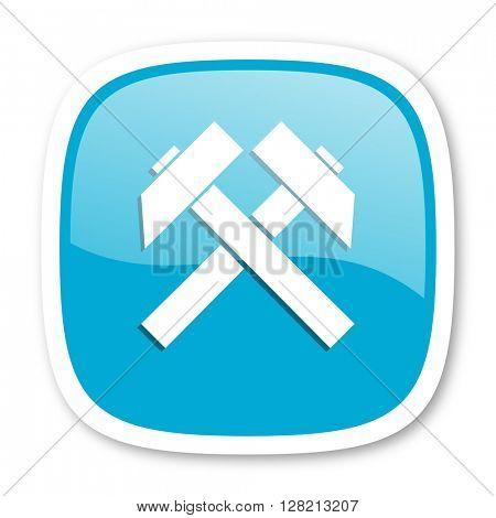 mining blue glossy icon