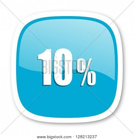 10 percent blue glossy icon