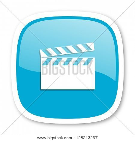video blue glossy icon