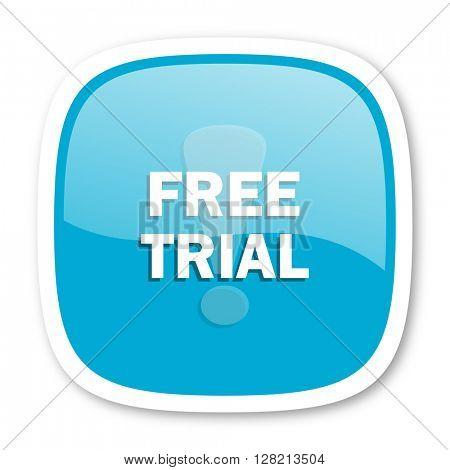 free trial blue glossy icon