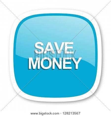 save money blue glossy icon