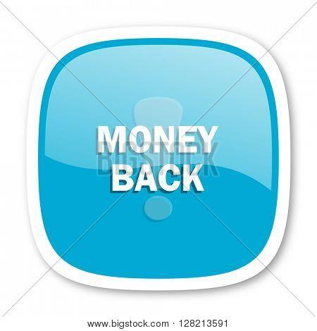 money back blue glossy icon