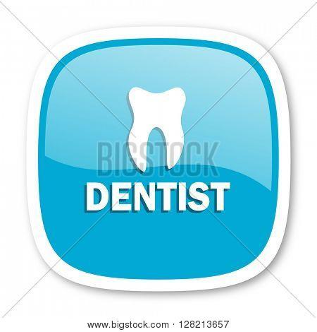 dentist blue glossy icon