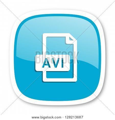 avi file blue glossy icon