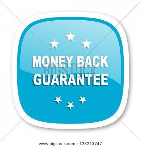 money back guarantee blue glossy icon