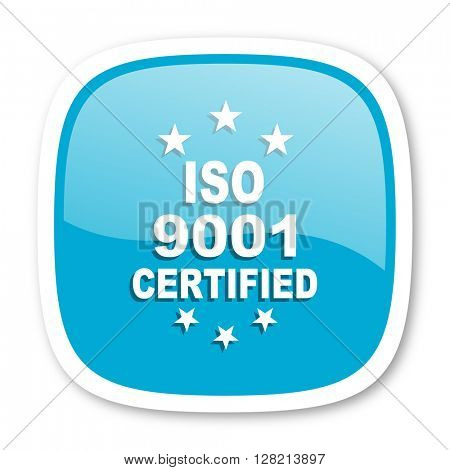 iso 9001 blue glossy icon