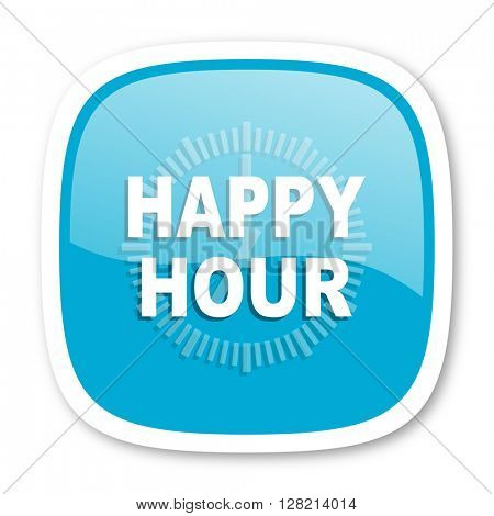 happy hour blue glossy icon