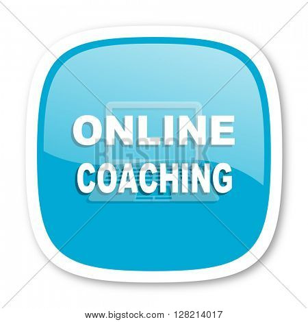 online coaching blue glossy icon