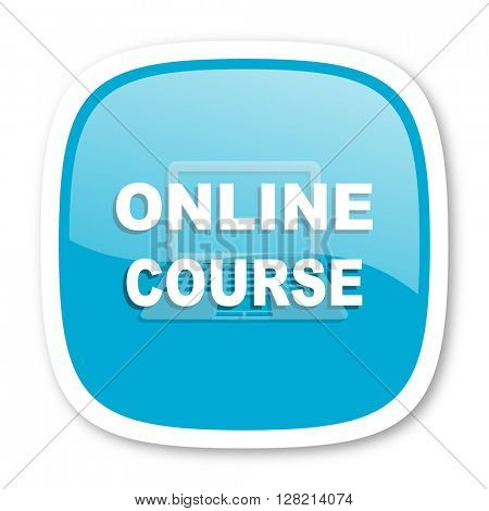 online course blue glossy icon