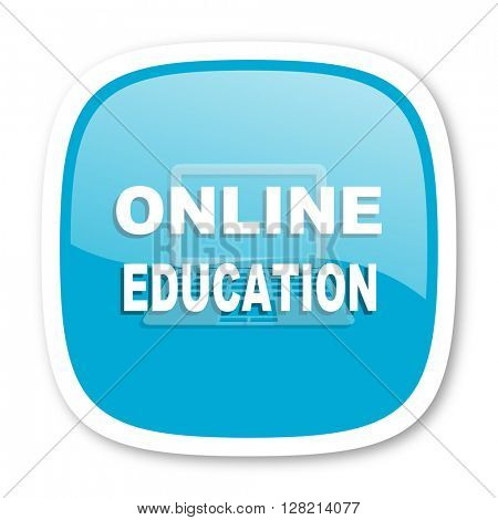 online education blue glossy icon