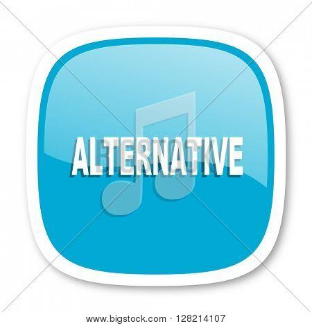 alternative music blue glossy icon