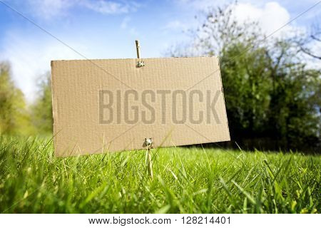 Blank cardboard sign on grass in nature ready for text message
