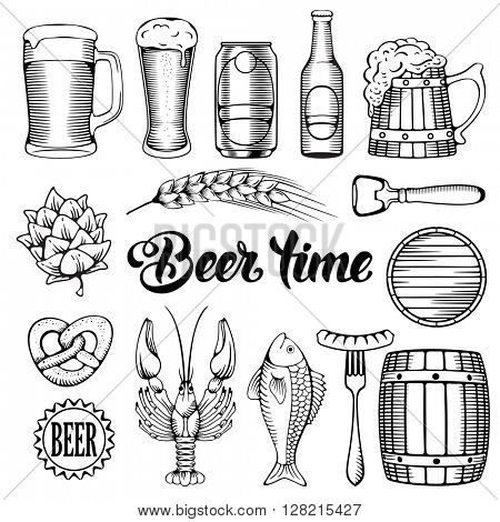 Beer and Snack design elements set in Outline Hand Drawn Doodle Style. Black, monochrome. Isolated on white background. Vector Illustration.