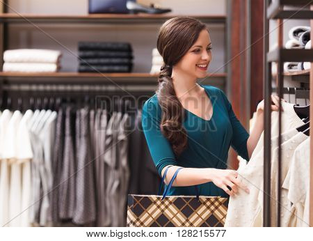 Smiling woman in shop