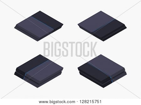 Set of the isometric black nextgen gaming consoles. The objects are isolated against the white background and shown from different sides