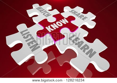 Know Puzzle Pieces Listen Share Education Words