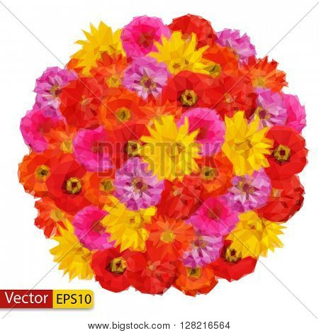 Vector low poly bouquet of Zinnia elegans flowers isolated on white with clipping path