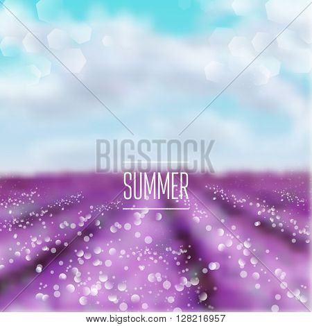 Spring and summer watercolor  france countryside blur lavender field background with shining sparks and bokeh. Vector Illustration, Graphic Design Editable For Your Design.