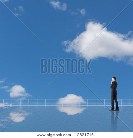 Man look and discover against the cloudy sky with copyspace.