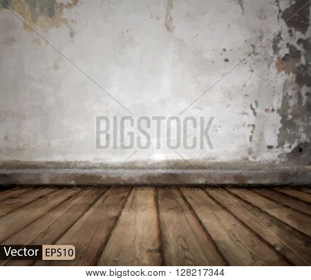 Vector low poly old room with concrete wall and wooden floor tri