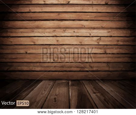 Vector low poly old grunge interior, wooden triangle background