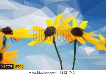 Vector low poly yellow rudbeckia flowers under blue sky
