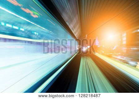 Tunnel with blurred light tracks