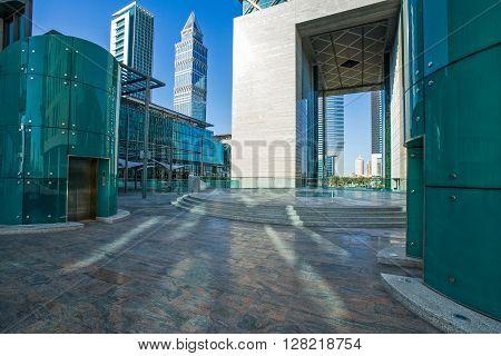 Dubai U.A.E. - February 18 2007: The architectures of the business area of the Sheik Zaied Road.