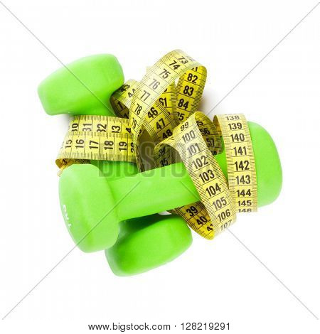 Dumbbells and tape measure. Fitness concept. Isolated on white background