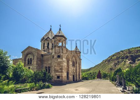 View of  ancient stone church. Exploring Armenia