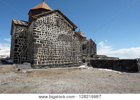 Ancient monastery Sevanavank on Lake Sevan, Armenia. Was founded in year 874.