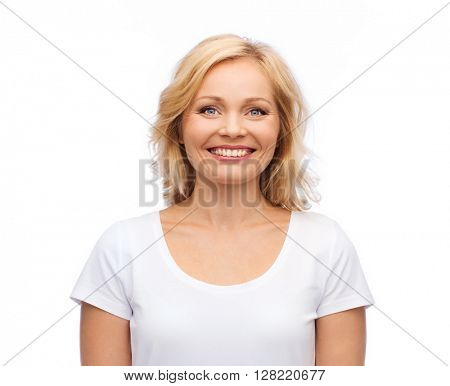 happiness and people concept - smiling woman in blank white t-shirt