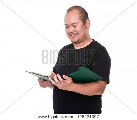 Man reading on clipboard