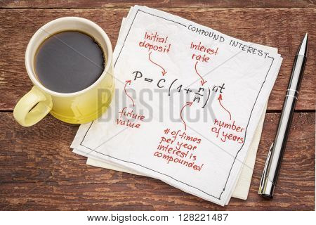 compound interest equation on a napkin with a cup of coffee against rustic wood table