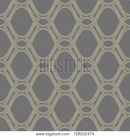 Seamless vector pattern. Modern geometric pattern with repeating elements. Golden pattern. Fine pattern with golden wavy lines. Pattern with golden curves
