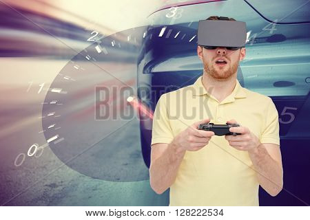 3d technology, virtual reality, entertainment and people concept - man in virtual reality headset with game controller gamepad playing car racing game over tachometer and street race background