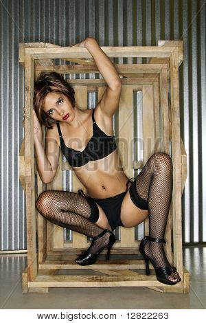 Portrait of young Caucasian woman dressed in lingerie inside crate box.