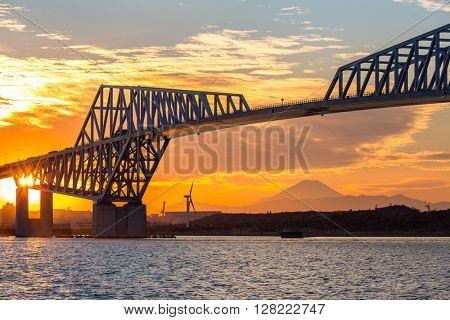 Tokyo landmark, Tokyo Gate Bridge and Mountain Fuji at sunset